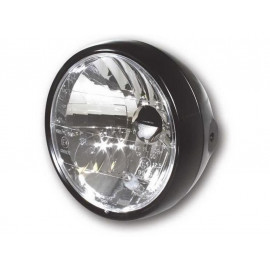 P&W Headlight 6 1/2 Inch Metal with Parking Light side Mount (black matt)
